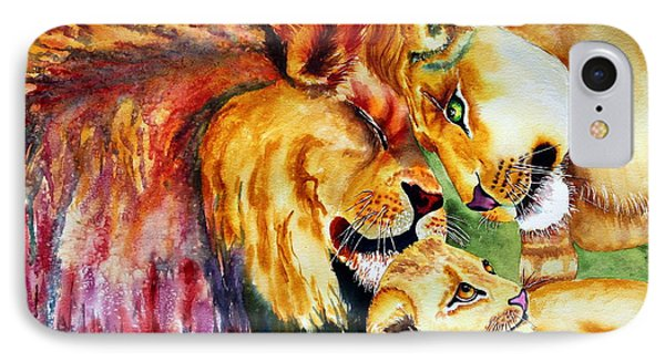 IPhone Case featuring the painting A Lion's Pride by Maria Barry