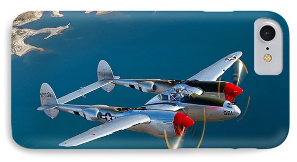 A Lockheed P-38 Lightning Fighter IPhone Case by Scott Germain