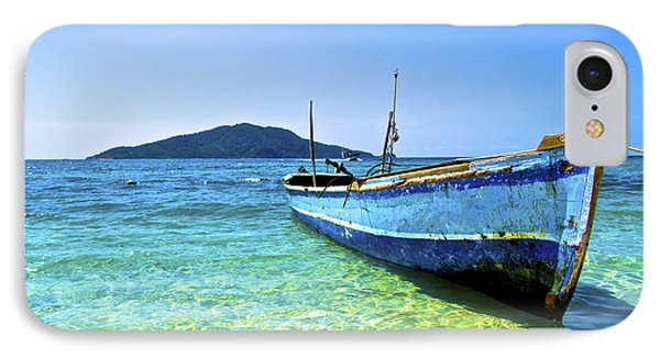 A Lone Boat On The Shore Of Cayos IPhone Case by Amanda Nicholls