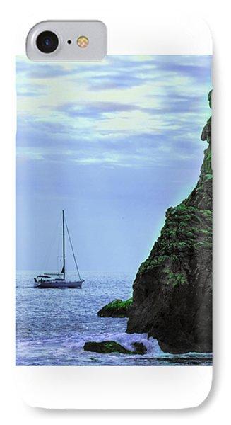 A Lone Sailboat Floats On A Calm Sea IPhone Case