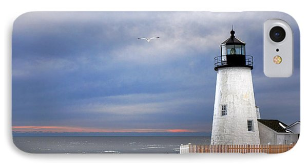 A Lonely Seagull Was Flying Over The Pemaquid Point Lighthouse IPhone Case