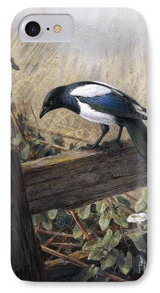Magpies iPhone 7 Case - A Magpie Observing Field Mice by Johan Gerard Keulemans