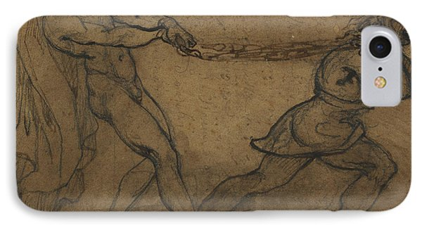 A Male Nude Pulled By Another Male IPhone Case by Theodore Gericault