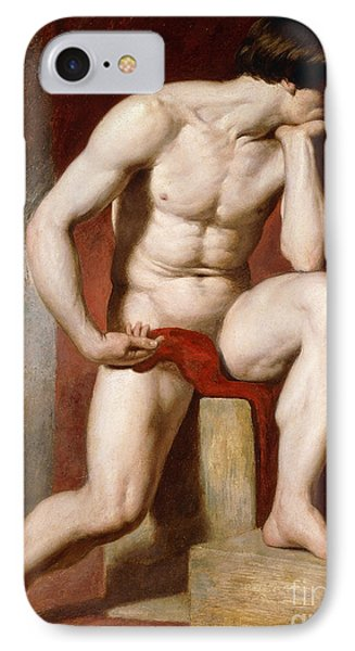 A Male Nude, Seated Full Length IPhone Case by William Etty
