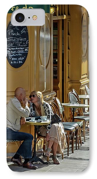 A Man A Woman A French Cafe Phone Case by Allen Sheffield