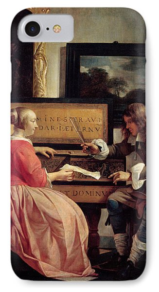 A Man And A Woman Seated By A Virginal IPhone Case by Gabriel Metsu