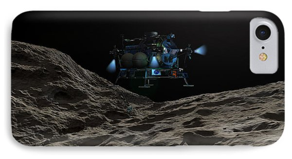 A Manned Asteroid Lander Approaches Phone Case by Walter Myers