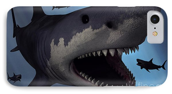 A Megalodon Shark From The Cenozoic Era Phone Case by Mark Stevenson