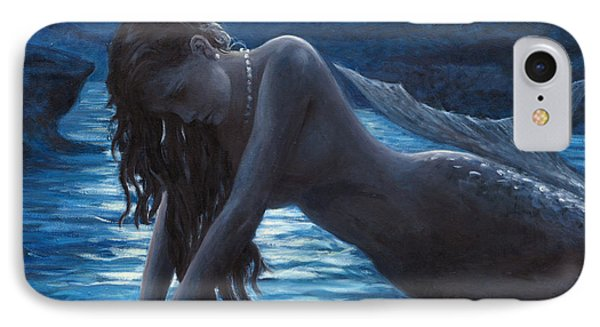 A Mermaid In The Moonlight - Love Is Mystery IPhone Case by Marco Busoni