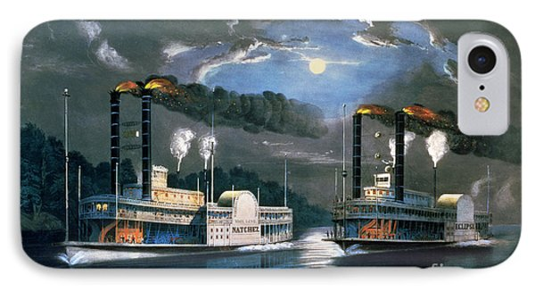 A Midnight Race On The Mississippi IPhone Case by Currier and Ives