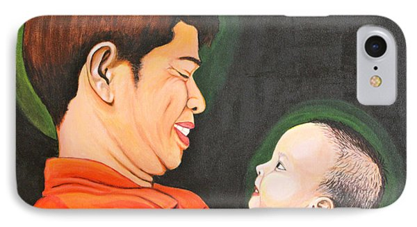 IPhone Case featuring the painting A Moment With Dad by Cyril Maza