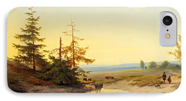 A Moorland With Figures And Cattle By A Pond IPhone Case by Cornelis Lieste