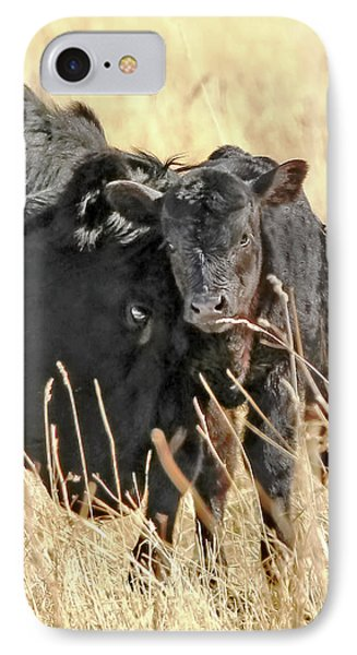 A Mother's Love Black Cow And Calf Phone Case by Jennie Marie Schell