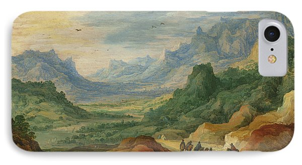 A Mountainous Landscape With Travellers And Herdsmen On A Path IPhone Case