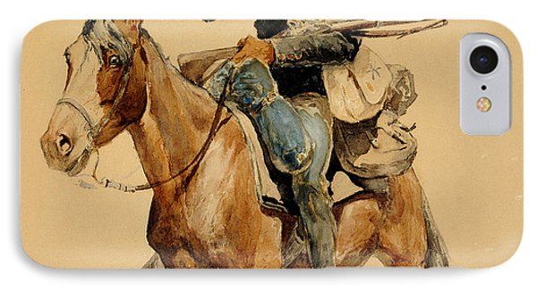 A Mounted Infantryman IPhone Case by Frederic Remington