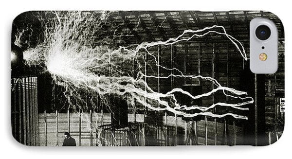 A Multiple Exposure Picture Of Tesla With His Magnifying Transmitter IPhone Case by American School