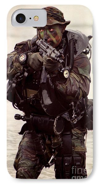 A Navy Seal Exits The Water Armed Phone Case by Michael Wood