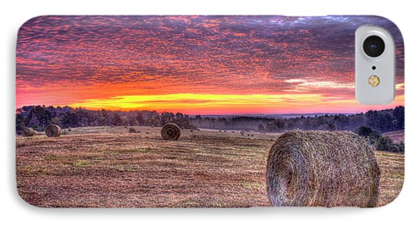 IPhone Case featuring the photograph Before A New Day Georgia Hayfield Sunrise Art by Reid Callaway