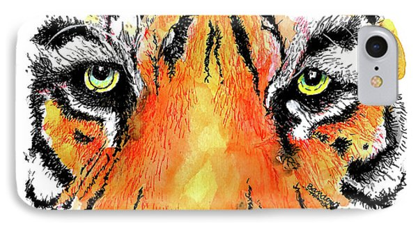 IPhone Case featuring the painting A Nice Tiger by Terry Banderas