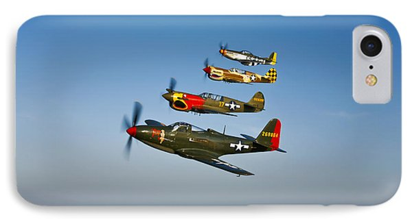 A P-36 Kingcobra, Two Curtiss P-40n IPhone Case by Scott Germain