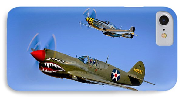 A P-40e Warhawk And A P-51d Mustang IPhone Case by Scott Germain