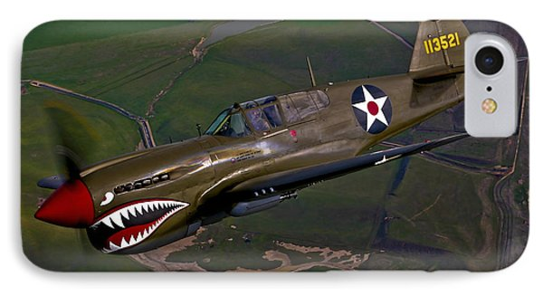 A P-40e Warhawk In Flight IPhone Case by Scott Germain