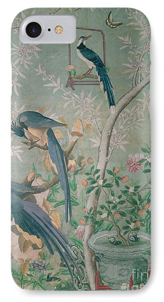 A Pair Of Magpie Jays  Vintage Wallpaper IPhone Case