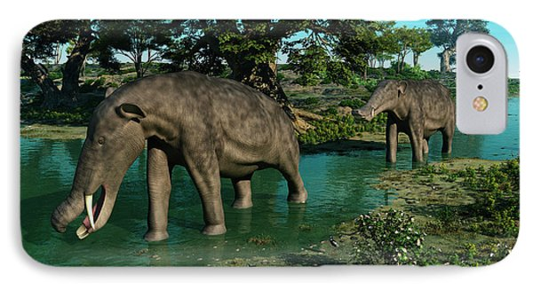 A Pair Of Platybelodon Grazing Phone Case by Walter Myers