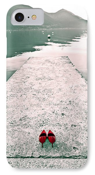 A Pair Of Red Women's Shoes Lying On A Walkway That Leads Into A Phone Case by Joana Kruse
