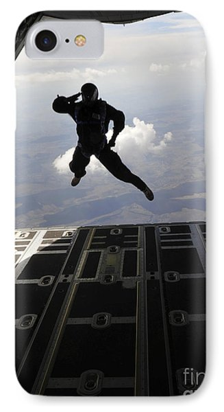 A Paratrooper Salutes As He Jumps Phone Case by Stocktrek Images