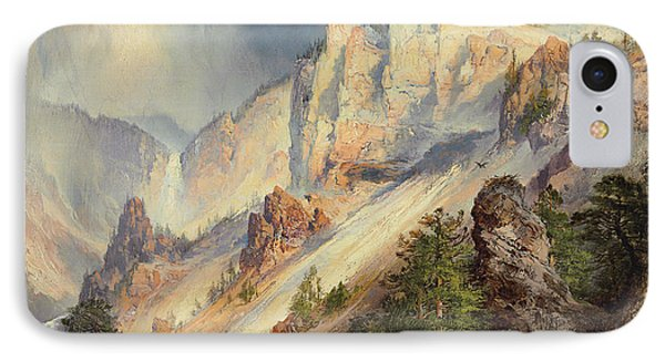 A Passing Shower In The Yellowstone Canyon IPhone Case by Thomas Moran