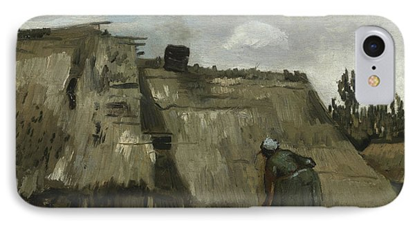 A Peasant Woman Digging In Front Of Her Cottage IPhone Case by Vincent Van Gogh
