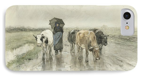 A Peasant Woman With Cows On A Country Lane In The Rain IPhone Case by Anton Mauve