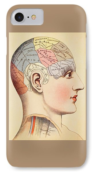 A Phrenological Map Of The Human Brain IPhone Case by English School