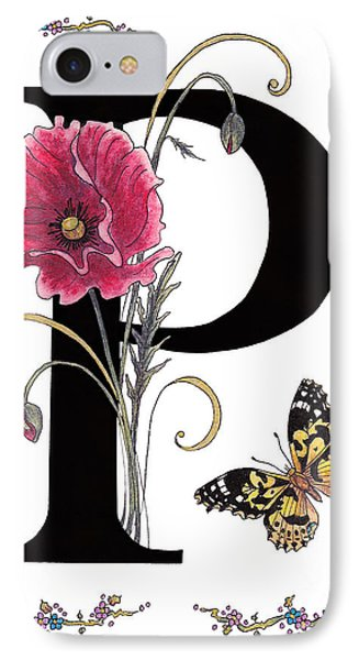 A Pink Poppy And A Painted Lady Butterfly IPhone Case by Stanza Widen