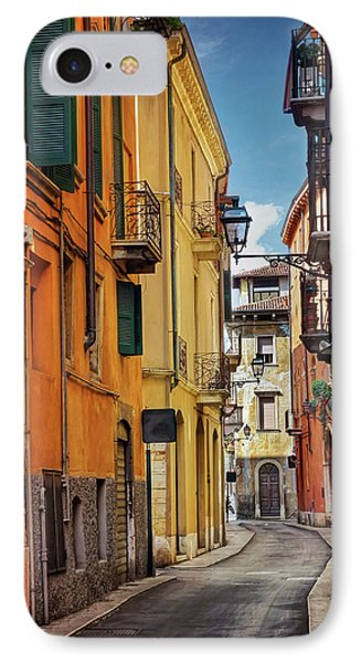 IPhone Case featuring the photograph A Pretty Little Street In Verona Italy  by Carol Japp