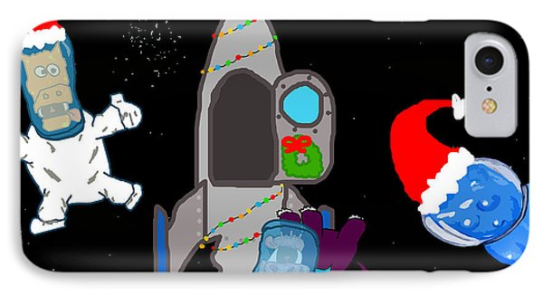 A Puppydragon Christmas In Space Phone Case by Jera Sky