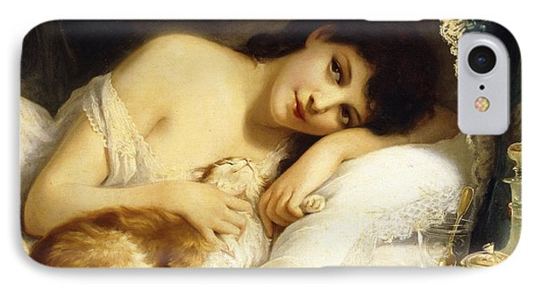 A Reclining Beauty With Her Cat IPhone Case