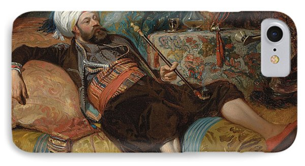 A Reclining Turk Smoking A Hookah, 1844 IPhone Case by Henri Baron