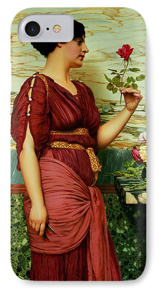 A Red Rose   Phone Case by John William Godward