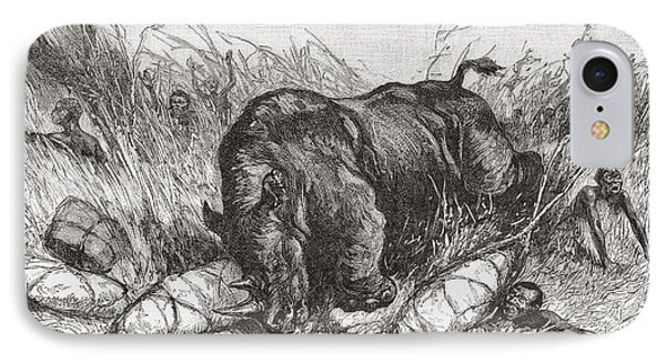 A Rhinoceros Attacks An Expedition In IPhone Case by Vintage Design Pics