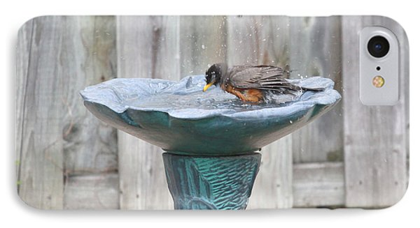 A Robin Bathing IPhone Case
