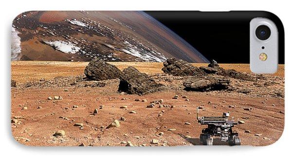 A Robotic Rover Explores An Alien World IPhone Case