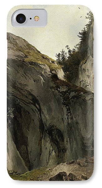 A Rocky Outcrop With Vegetation IPhone Case