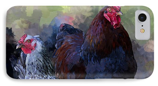 A Rooster And A Hen IPhone Case by Debra Baldwin