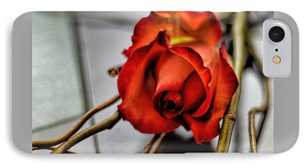 IPhone Case featuring the photograph A Rose On Bamboo by Diana Mary Sharpton