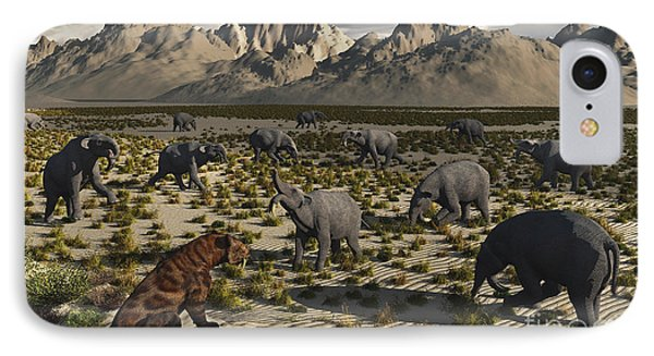 A Sabre-toothed Tiger Stalks A Herd Phone Case by Mark Stevenson