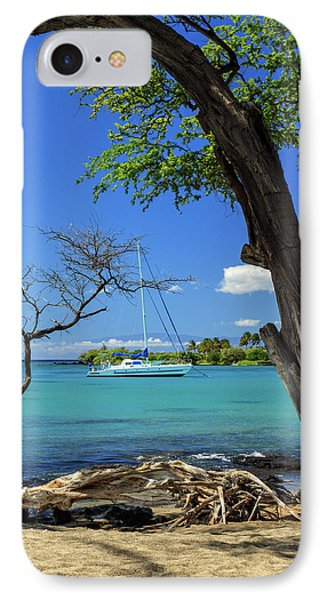 A Sailboat In Anaehoomalu Bay Phone Case by James Eddy