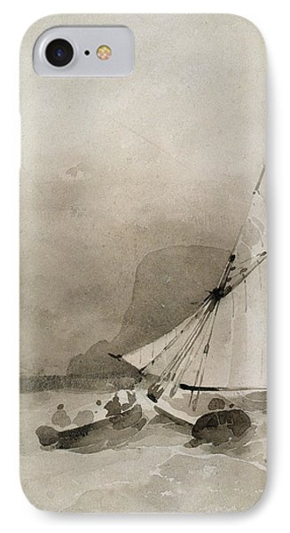 A Sailing Vessel And A Rowing Boat In Rough Seas IPhone Case by Richard Parkes Bonington