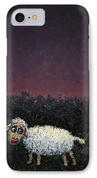 A Sheep In The Dark IPhone Case by James W Johnson
